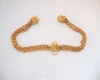 Skull Bracelet, Cable Chain Bracelet,Multi-Strand Bracelet,Skull Jewelry,Magnetic Clasp, Goth Jewelry, Fashion Jewelry, Gold Jewelry, Skulls