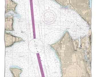 WA: Seattle, WA Nautical Chart Fleece Throw Blanket, Map Blanket