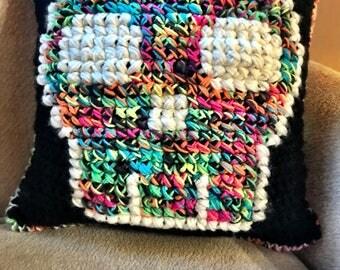 Skull Pillow, Rainbow Skull Pillow, Crochet Skull Pillow, Decorative Skull Pillow