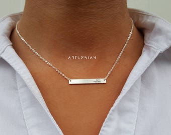Best friends necklace, best friend gift bar, friendship necklace, bff necklace engraved, best friend jewelry, distance necklace bar, Bff new