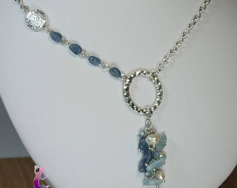 "Necklace ""Xipali"" kyanite, Aquamarine and natural freshwater pearls"