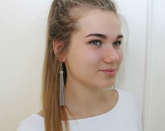 Gray color leather tassel earrings, tassel with gold or silver color elements