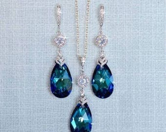Handmade Swarovski Bermuda Blue Crystal Necklace & Earrings Set, Bridal, Wedding (Sparkle-2691)
