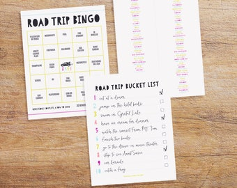 Car Travel Fun for Kids - Road Trip Activity Pack - Printable Road Trip Bucket List - Customizable Road Trip Bingo - License Plate Game