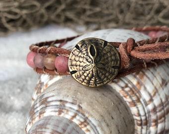 Boho Beachy Leather Wrap Bracelet with Sand Dollar