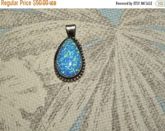ON SALE stunning vintage native american sterling silver and opal pendant