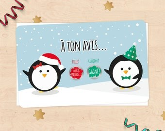 Mini scratch card announcement pregnancy, baby gender, girl or boy - Christmas penguins collection
