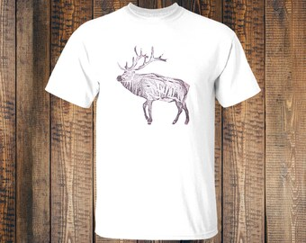 Tshirt Stag - White - Handprinted - Blockprinted