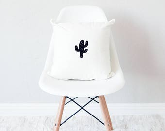 White throw pillow with insert / minimal home decor / cactus design cushion /