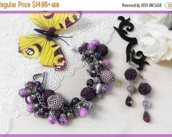 Sale Beaded bracelet Beaded earrings Beaded set Purple bracelet Purple jewelry set Handmade set Christmas gift Purple bracelet Gift for woma