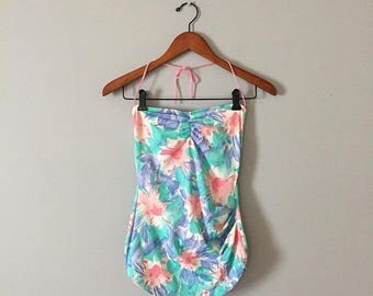 20% OFF SALE... 1980s pastel bandeau swimsuit    pastel maillot