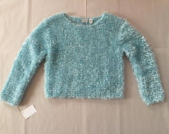baby blue fuzzy pullover | 90s cropped pullover | fuzzy sweater top