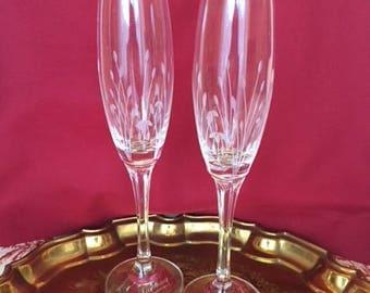 Gorham Crystal Champagne Flutes, Set/2, Wedding Crystal, Toasting Stems