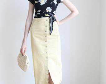"""Vintage Pale Yellow Button Up Denim Skirt 