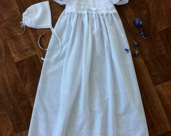 Broderie Anglaise Christening Gown. Long Baptism Dress, NamingGown.