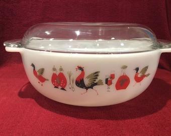 SALE Pyrex JAJ Fowl Play 3 pint Easy-Grip casserole dish circa 1965