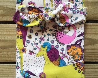 Baby Swaddle Blanket, Organic Baby Blanket and Headband. Unicorns, flamingos. Newborn gift, baby shower present