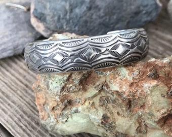 Sterling Silver Navajo Stamped Tahe Cuff Bracelet
