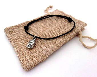Cord and Buddha charm bracelet