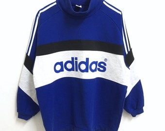 RARE!!! Adidas Trefoil Big Logo 3 Stripes SpellOut Blue Colour Sweatshirts Hip Hop Swag L Size