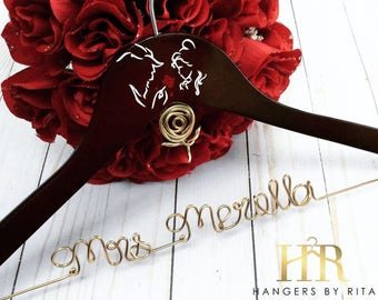 Disney Wedding Hanger, Beauty and the Beast Wedding, Princess Hanger, Disney Hanger, Bridal Hanger, Belle Hanger, Name Hanger, Mrs Hanger