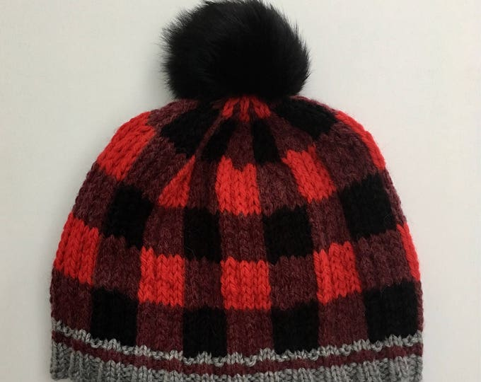 Hat Junior 8-10 years old X-Small wool acrylic with fur Pom Pom recycled