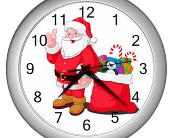 Wall clock decor christmas decor holiday xmas wall clock Santa Claus clocks noel decor