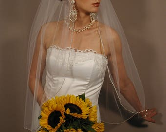 "36"" Single Tier Crystal Wedding veil"