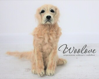 Felted Golden Retriever/Realistic retriever/Felted dog/Golden Retriever toy/Lifelike retriever/Custom pet portrait/Retriever sculpture/pets