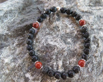 Lava Bracelet with Red Jasper and 925 Silver