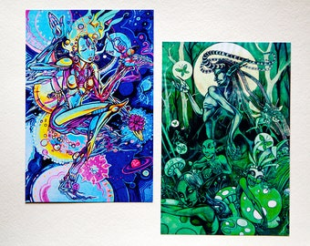 Psychedelic Visionary Art Trippy Graphic Postcards
