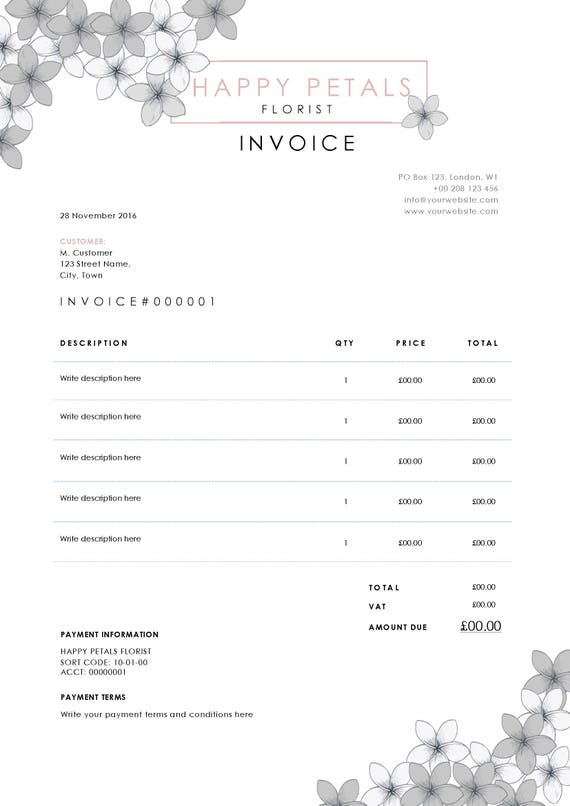 Blank Invoice Template For Word Invoice Simple Flowers Receipt Template  Versions Gst Invoice Format with Invoice Draft Word Instant Download  Certified Mail And Return Receipt Fees Excel