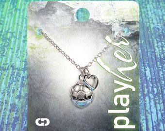 Customizable Soccer Heart Silver Necklace - Personalize with Jersey Number, Heart Charm, or Letter Charm! Great Soccer Gift!