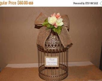 ON SALE Wedding Birdcage Cardholder / Champagne Wedding Birdcage / Wedding Cardholder