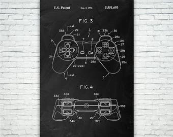 Original Playstation PS1 Controller Poster Patent Print Gift FREE SHIPPING, Playstation Controller, Sony Playstation, Video Game Controller