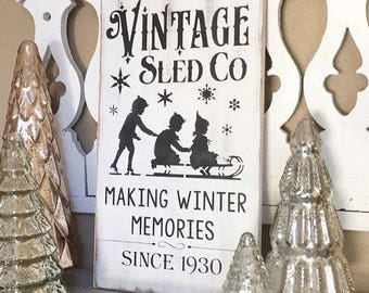 Sled Sign, Winter Sign, Holiday Decor, Wall Decor, Rustic Decorations, Farmhouse Sign, Fixer Upper Decor