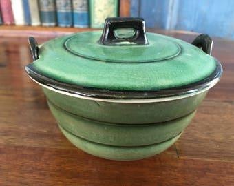 Vintage green Japanese jar with lid