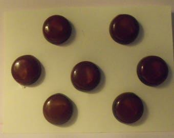 Lot of 7 Brown Plastic Shank Buttons