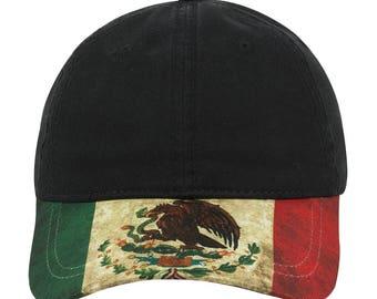 Mexico Flag Design Custom Visor Cotton Twill Six Panel Low Profile Adjustable Baseball Cap - Black - Men and Woment