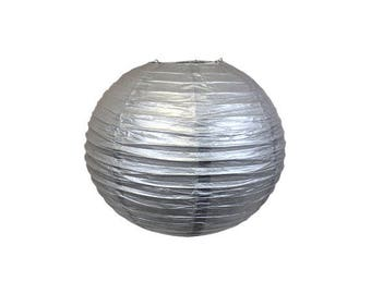"8"" Silver Paper Lantern - Weddings, Parties, Home Decor"