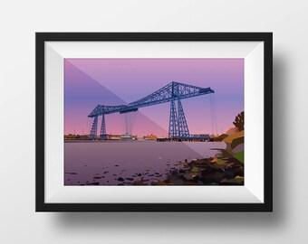 Transporter Bridge, Digital Art Landscape Illustration Print, FREE UK Delivery