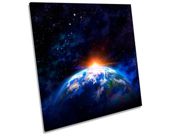 Space Planet Earth CANVAS WALL ART Square Print