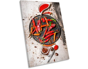 Red Chilli Kitchen Peppers Print CANVAS WALL ART Picture Framed