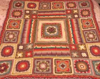 Handmade Demelza from Poldark blanket (pattern by Catherine Blythe) fully hand stitched using stonewashed scheepjes yarn. mothers day.
