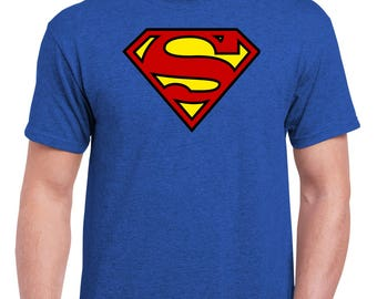 Gildan Ultra Cotton 6 oz Superman Classic Fit Crew Neck Tee in Antique Royal and Heather Navy
