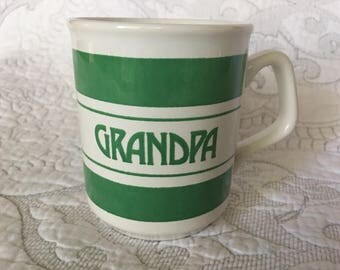 Vintage Green Grandpa Striped Coffee Mug Tea Cup - Made in England