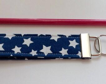 wristlet keychain key fob key ring  fabric keychain women's girls accessories-  blue stars fabric
