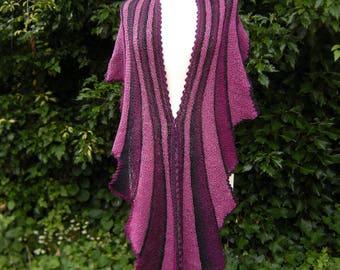 Hand knit, scarf, shawl, scarf, striped swing, fuchsia black
