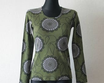 SALE 20% NANSO Moss green women's shirt Abstract floral print Long sleeves Round neck Finnish top Big circles print Dark green top Everyday