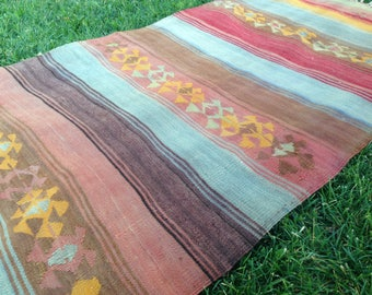 Turkish Rug - Kilim Rug - Area Rug - Handmade Rug - Vintage Rug - Rug - Anatolian Rug - Decorative Rug//170 cm x 85 cm = 5,5 ft x 2,8 ft